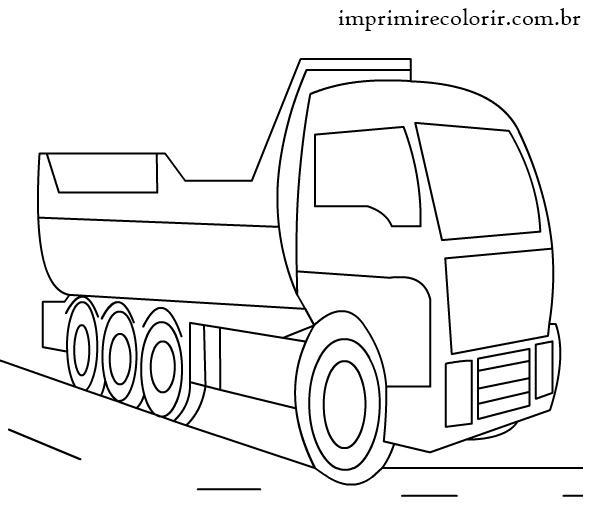 desenhos de pintar imprimir e colorir caminhão caçamba