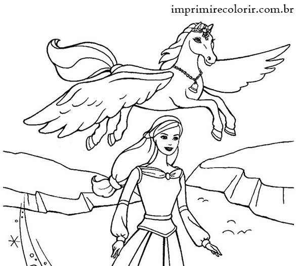Desenhos de Pintar Imprimir e Colorir   Barbie e o Pegasus