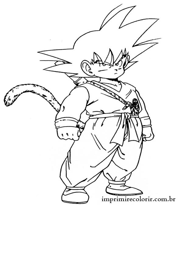 Desenhos De Pintar Imprimir E Colorir Goku Pequeno