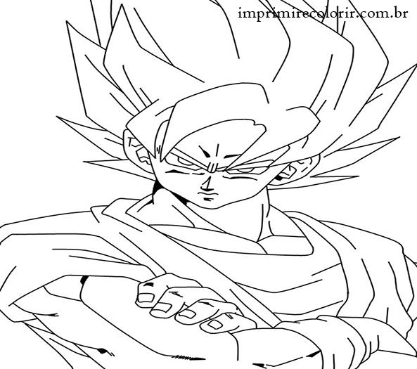 Desenhos de Pintar Imprimir e Colorir   Goku SSJ