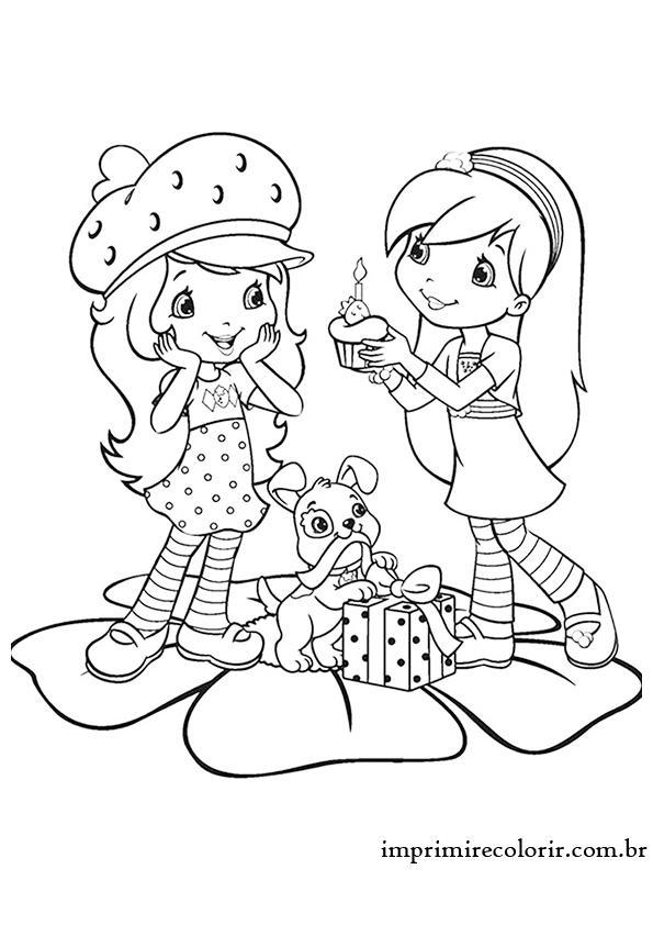 desenhos de pintar imprimir e colorir moranguinho festa