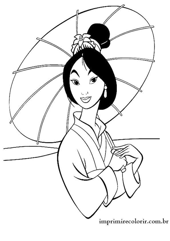 desenhos de pintar imprimir e colorir princesa mulan