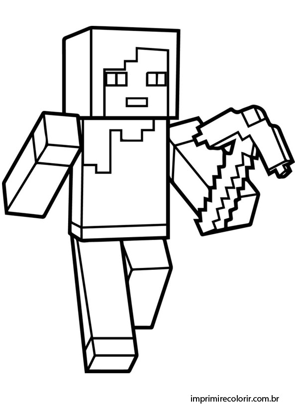 Desenhos De Pintar Imprimir E Colorir Amigo Minecraft