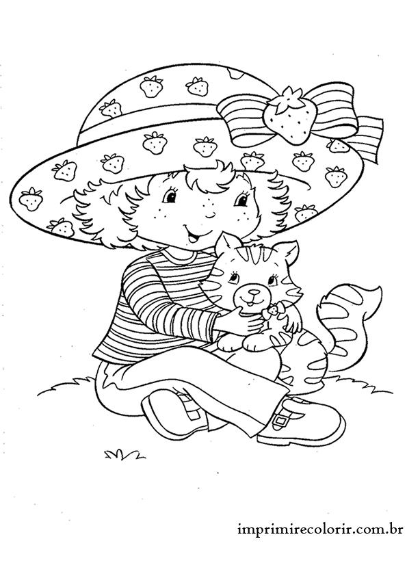 Moranguinho E O Gato Desenhos Para Imprimir E Colorir