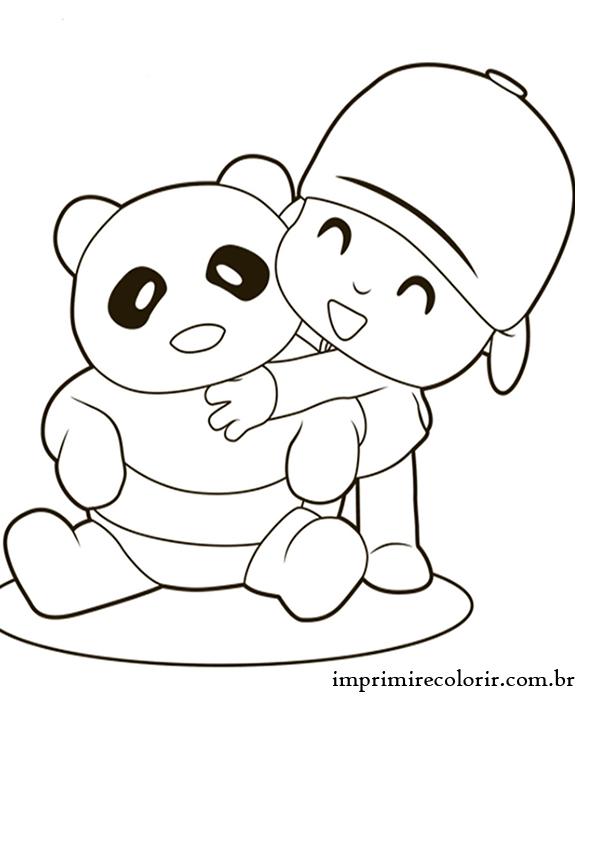 Pocoyo E O Urso Desenhos Para Imprimir E Colorir