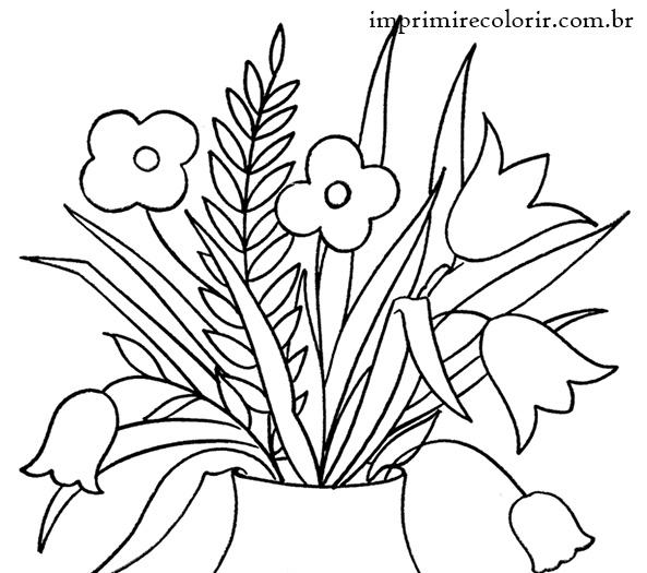 Vaso De Flores Desenhos Para Imprimir E Colorir